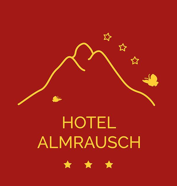 Hotel Almrausch Logo Schrift und Berg - rot