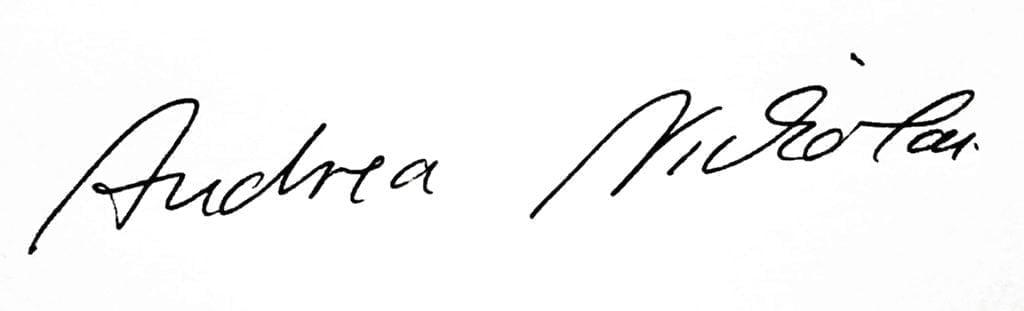 Unterschrift von Andrea Nickolai, Eigentümerin des Hotel Almrausch